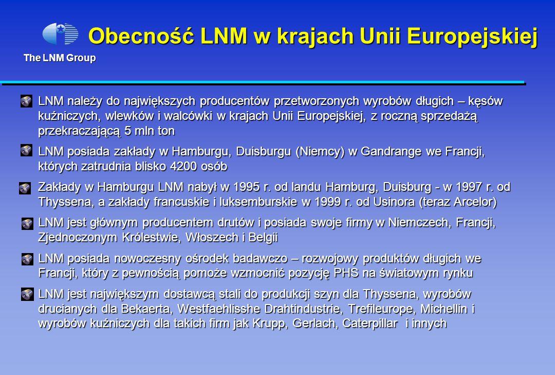 The LNM Group Obecność LNM w krajach Unii Europejskiej LNM należy do największych producentów przetworzonych wyrobów długich – kęsów kuźniczych, wlewków i walcówki w krajach Unii Europejskiej, z roczną sprzedażą przekraczającą 5 mln ton LNM posiada zakłady w Hamburgu, Duisburgu (Niemcy) w Gandrange we Francji, których zatrudnia blisko 4200 osób Zakłady w Hamburgu LNM nabył w 1995 r.