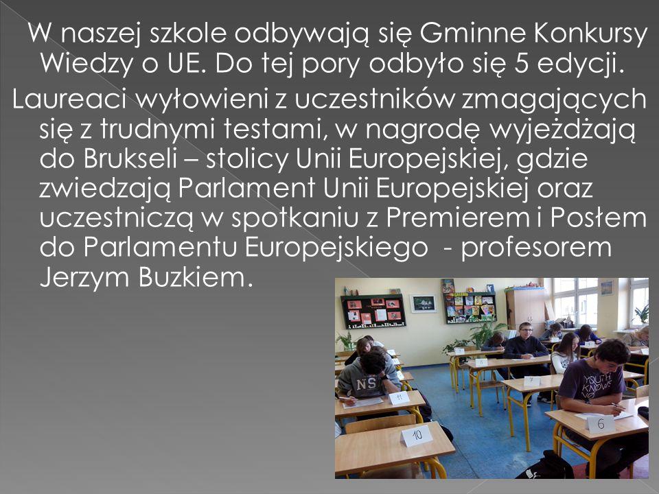 W naszej szkole odbywają się Gminne Konkursy Wiedzy o UE.