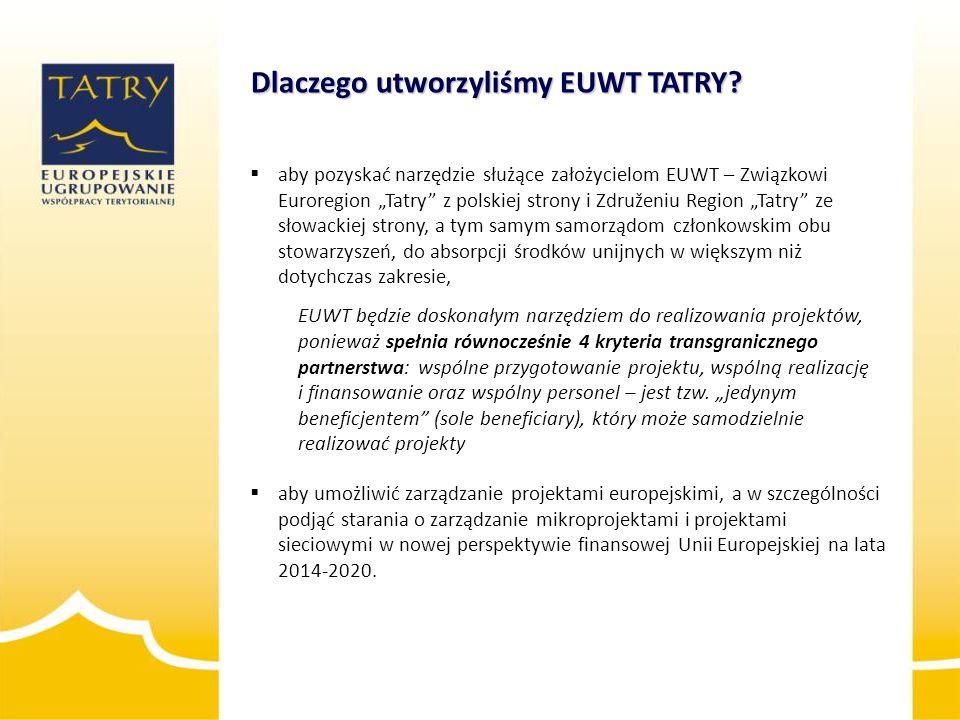 """ aby pozyskać narzędzie służące założycielom EUWT – Związkowi Euroregion """"Tatry"""" z polskiej strony i Združeniu Region """"Tatry"""" ze słowackiej strony, a"""