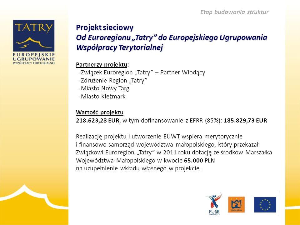 """Projekt sieciowy Od Euroregionu """"Tatry"""" do Europejskiego Ugrupowania Współpracy Terytorialnej Projekt sieciowy Od Euroregionu """"Tatry"""" do Europejskiego"""