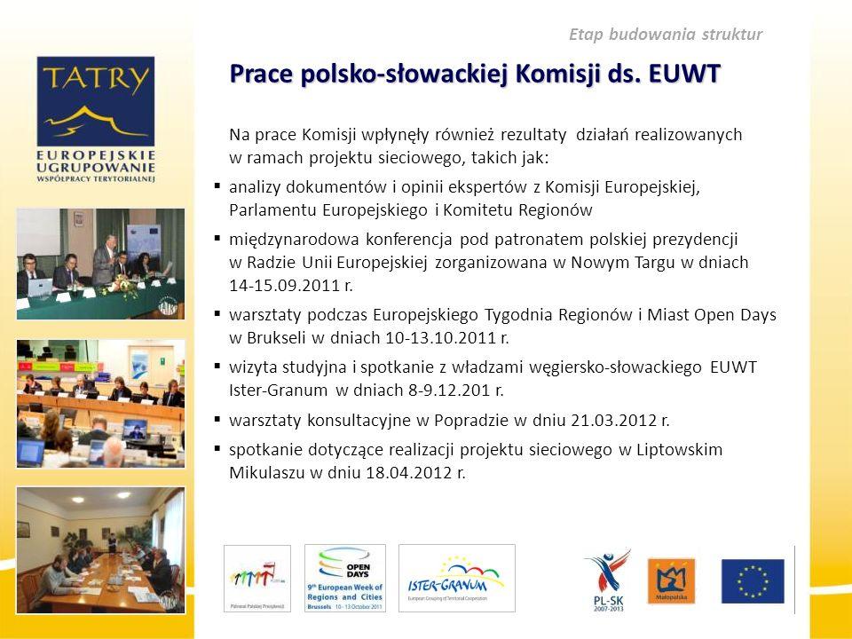 Prace polsko-słowackiej Komisji ds. EUWT Na prace Komisji wpłynęły również rezultaty działań realizowanych w ramach projektu sieciowego, takich jak: 