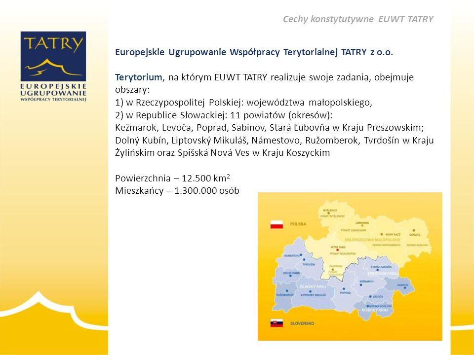 Europejskie Ugrupowanie Współpracy Terytorialnej TATRY z o.o. Terytorium, na którym EUWT TATRY realizuje swoje zadania, obejmuje obszary: 1) w Rzeczyp