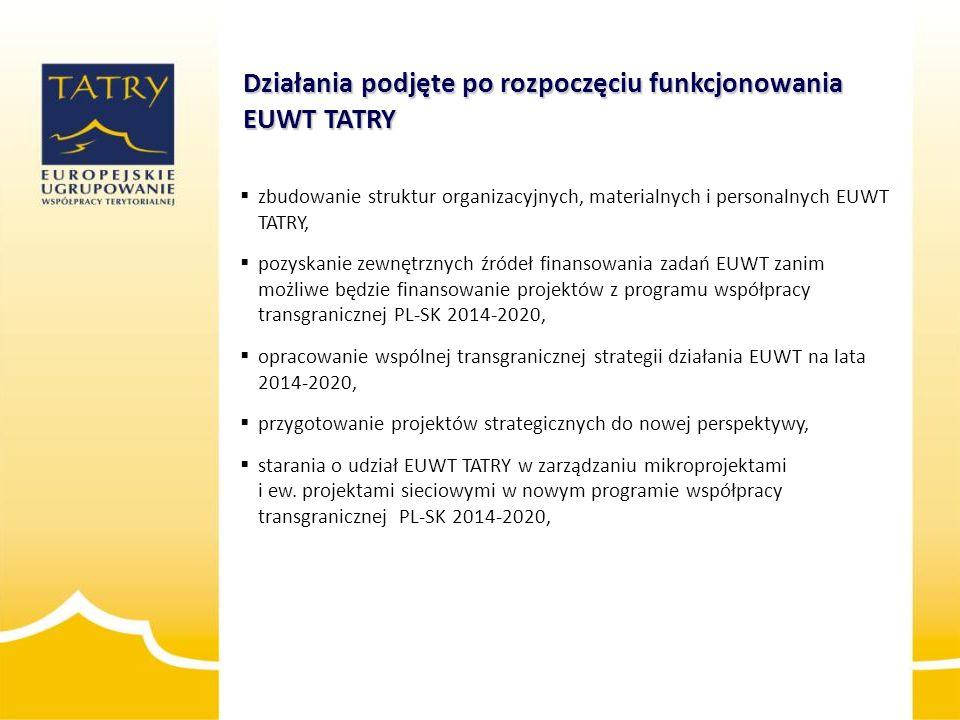  zbudowanie struktur organizacyjnych, materialnych i personalnych EUWT TATRY,  pozyskanie zewnętrznych źródeł finansowania zadań EUWT zanim możliwe