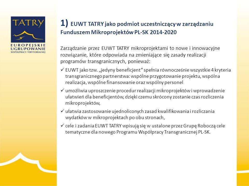 1) EUWT TATRY jako podmiot uczestniczący w zarządzaniu Funduszem Mikroprojektów PL-SK 2014-2020 Zarządzanie przez EUWT TATRY mikroprojektami to nowe i