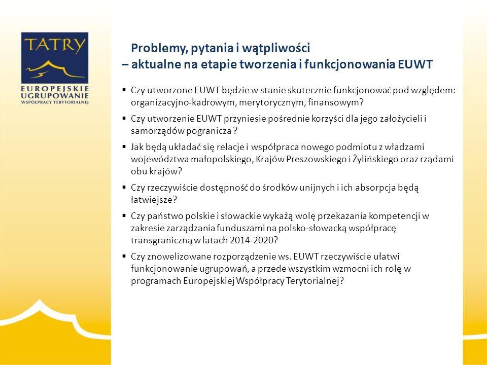  Czy utworzone EUWT będzie w stanie skutecznie funkcjonować pod względem: organizacyjno-kadrowym, merytorycznym, finansowym?  Czy utworzenie EUWT pr