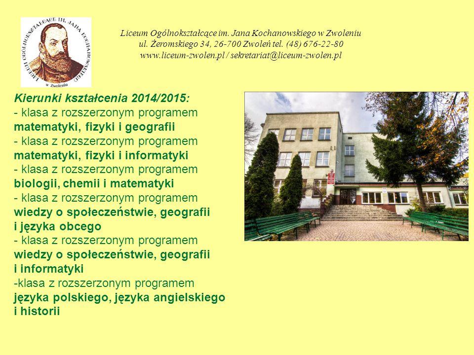 ZAPRASZAMY GIMNAZJALISTÓW Liceum Ogólnokształcące im.