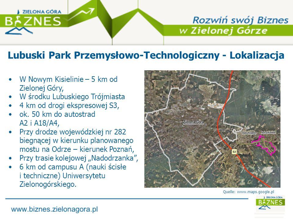 Lubuski Park Przemysłowo-Technologiczny – obszary funkcjonalne Powierzchnia całkowita: 167,81 ha (możliwe powiększenie) Park Naukowo-Technologiczny Uniwersytetu Zielonogórskiego: 41 ha Kompleks przemysłowy: 126 ha - z tego 123 ha objęte statusem Kostrzyńsko-Słubickiej Specjalnej Strefy Ekonomicznej