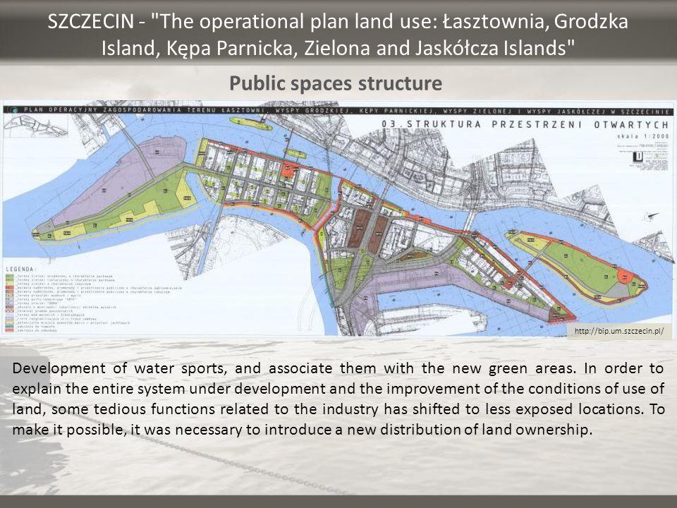 SZCZECIN - The operational plan land use: Łasztownia, Grodzka Island, Kępa Parnicka, Zielona and Jaskółcza Islands Development of water sports, and associate them with the new green areas.