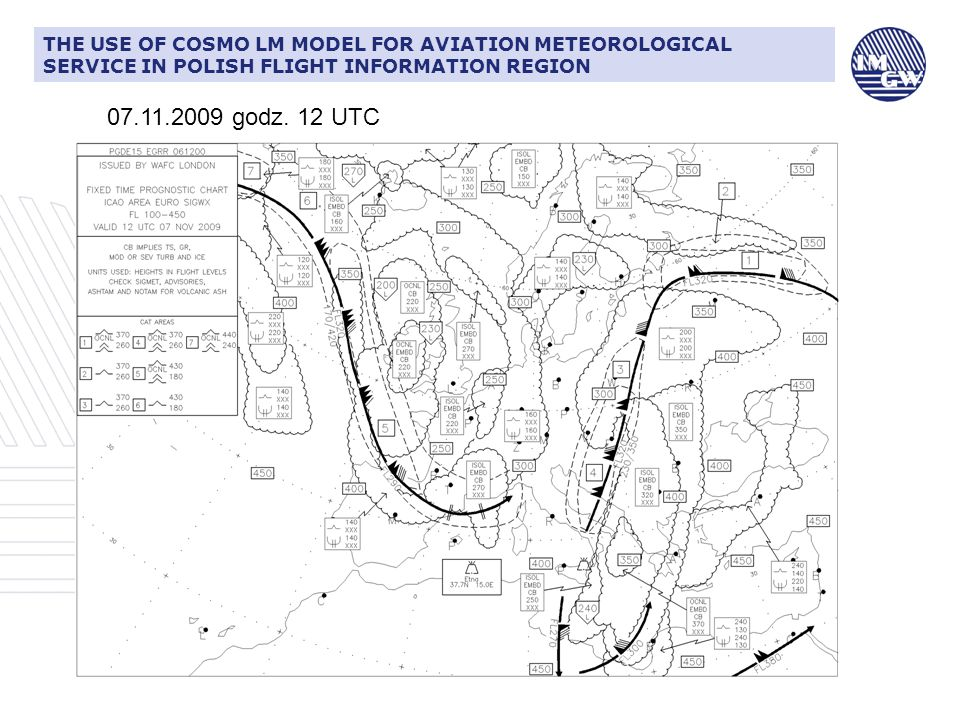 CIŚNIENIE ATMOSFERYCZNE I JEGO ZNACZENIE DLA LOTNICTWATHE USE OF COSMO LM MODEL FOR AVIATION METEOROLOGICAL SERVICE IN POLISH FLIGHT INFORMATION REGION Warsaw 07.11.2009 godz.