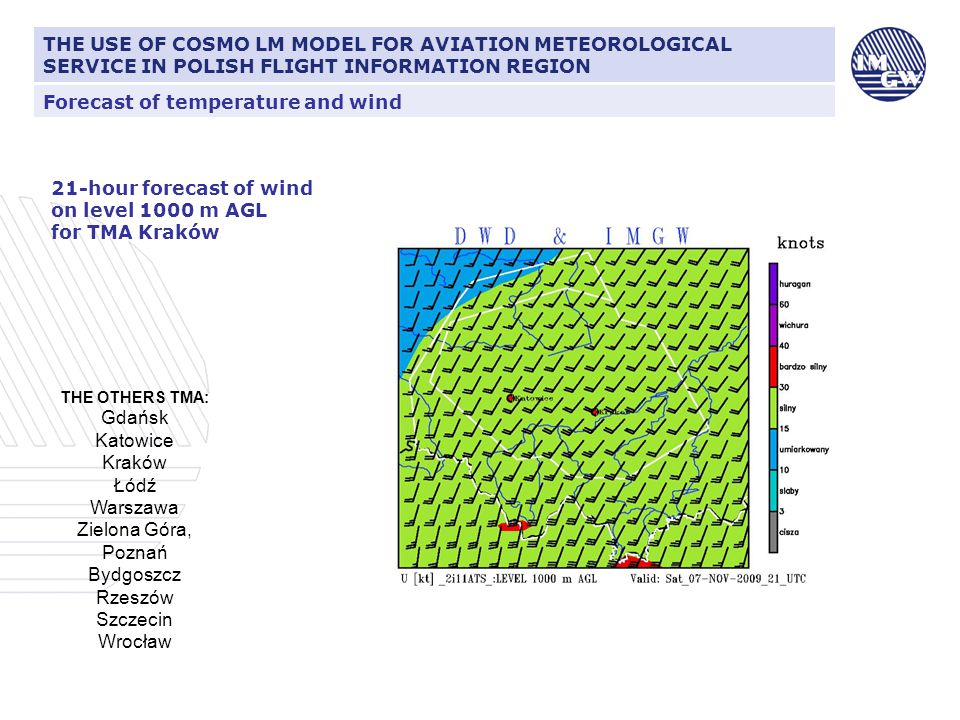Forecast of temperature and wind THE USE OF COSMO LM MODEL FOR AVIATION METEOROLOGICAL SERVICE IN POLISH FLIGHT INFORMATION REGION 21-hour forecast of wind on level 1000 m AGL for TMA Kraków THE OTHERS TMA: Gdańsk Katowice Kraków Łódź Warszawa Zielona Góra, Poznań Bydgoszcz Rzeszów Szczecin Wrocław