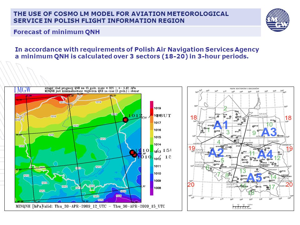 Correction of forecast of minimum QNH CIŚNIENIE ATMOSFERYCZNE I JEGO ZNACZENIE DLA LOTNICTWA A forecast of minimum QNH for all regions is corrected every hour by means of SYNOP data → estimation of an error in the forecast on the basis of the error from the previous hour → the use of pressure tendency → calculation of an error in the forecast in next hour → correction THE USE OF COSMO LM MODEL FOR AVIATION METEOROLOGICAL SERVICE IN POLISH FLIGHT INFORMATION REGION