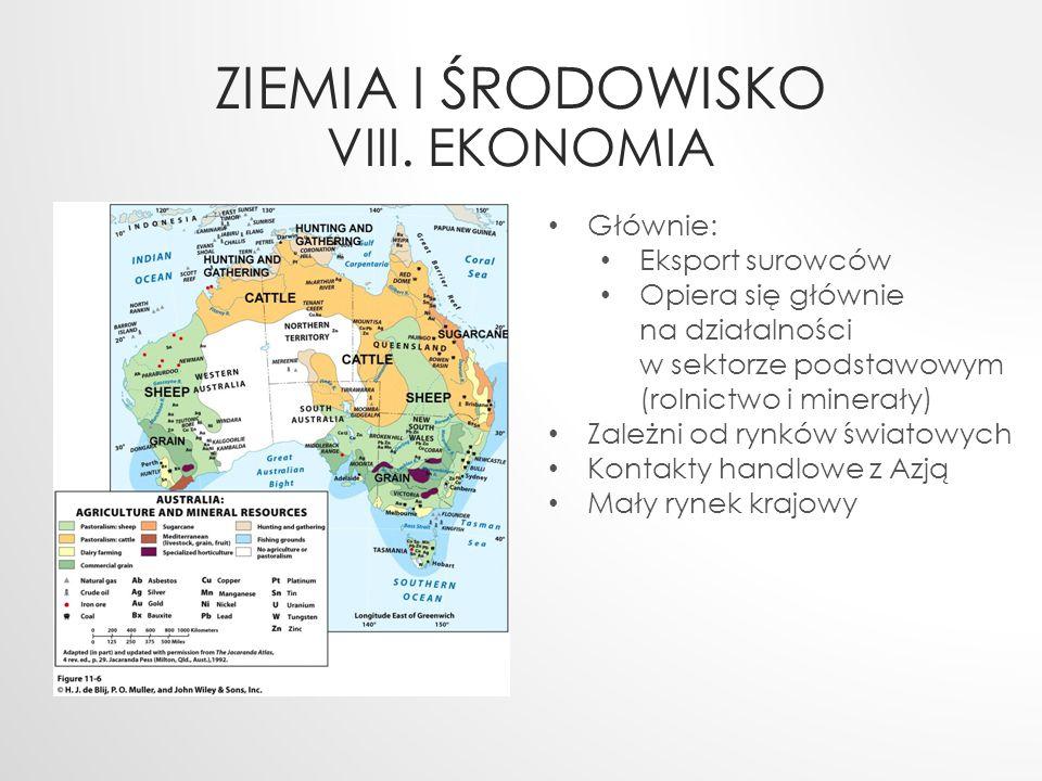 ZIEMIA I ŚRODOWISKO VIII. EKONOMIA Głównie: Eksport surowców Opiera się głównie na działalności w sektorze podstawowym (rolnictwo i minerały) Zależni