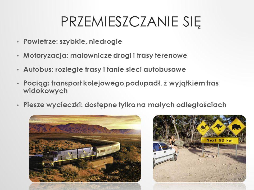 PRZEMIESZCZANIE SIĘ Powietrze: szybkie, niedrogie Motoryzacja: malownicze drogi i trasy terenowe Autobus: rozległe trasy i tanie sieci autobusowe Poci