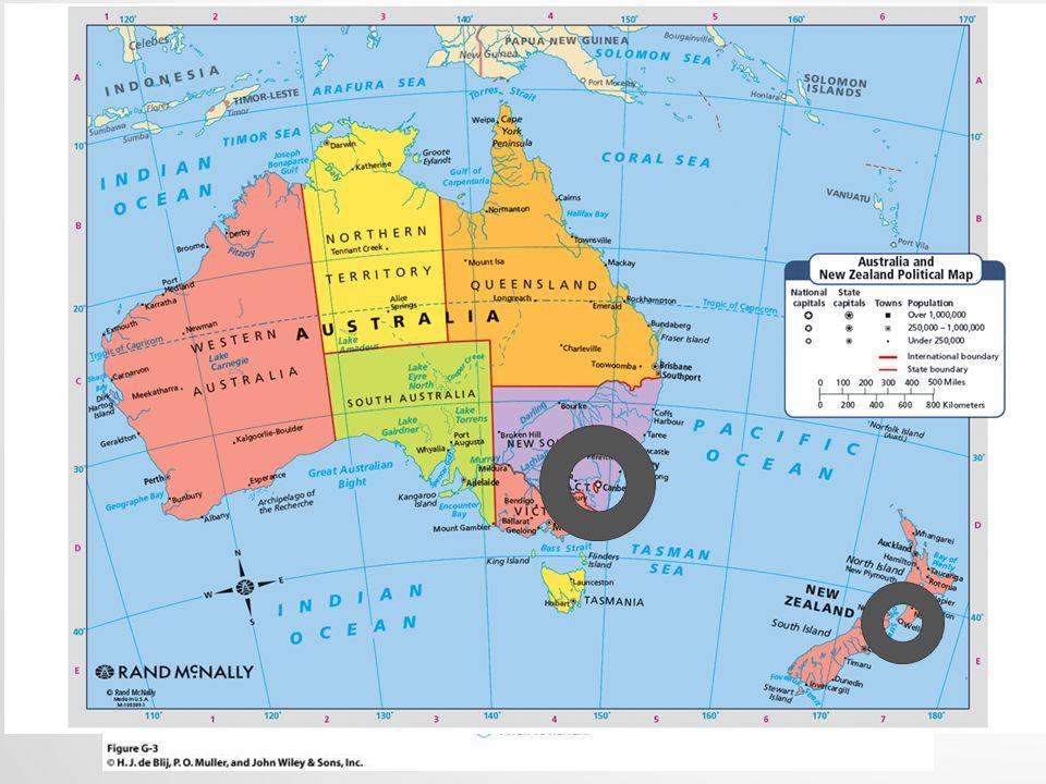 GŁÓWNE CECHY GEOGRAFICZNE Wymiar kontynentalny Separacja wyspiarska Zachodnie dziedzictwo kulturowe Druga sfera najmniej zaludniona Cztery regiony obszaru jako wynik geografii fizycznej i kultury: Wysoce zurbanizowane dwuczęściowy rdzeń Zdominowany przez pustynie Dwie główne wyspy z kontrastami geograficznymi NZ Australia