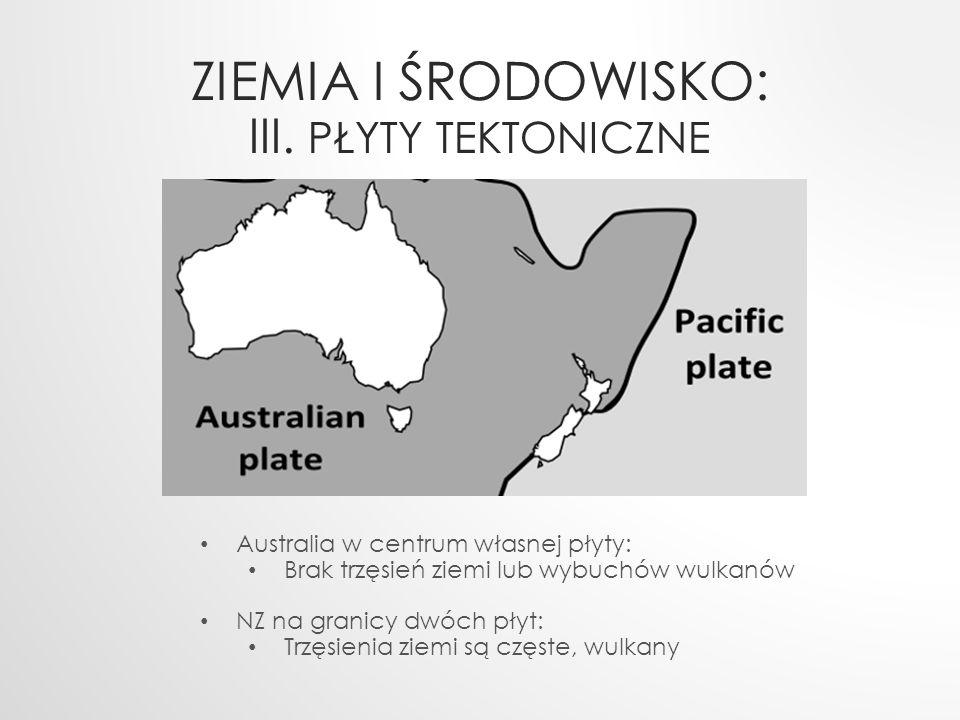 ZIEMIA I ŚRODOWISKO: III. PŁYTY TEKTONICZNE Australia w centrum własnej płyty: Brak trzęsień ziemi lub wybuchów wulkanów NZ na granicy dwóch płyt: Trz