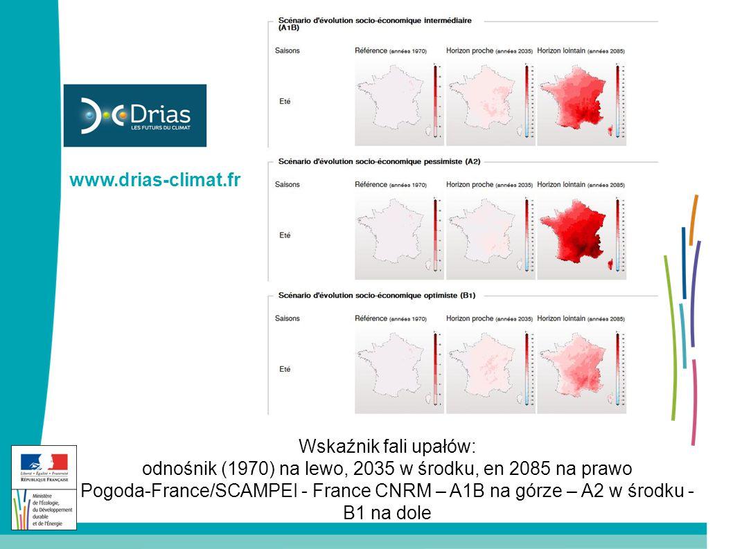 Wskaźnik fali upałów: odnośnik (1970) na lewo, 2035 w środku, en 2085 na prawo Pogoda-France/SCAMPEI - France CNRM – A1B na górze – A2 w środku - B1 na dole www.drias-climat.fr