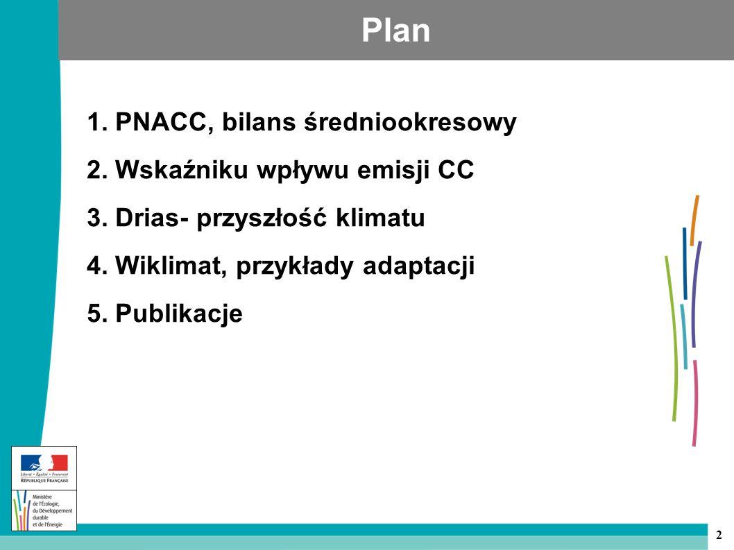 2 Plan 1. PNACC, bilans średniookresowy 2. Wskaźniku wpływu emisji CC 3.