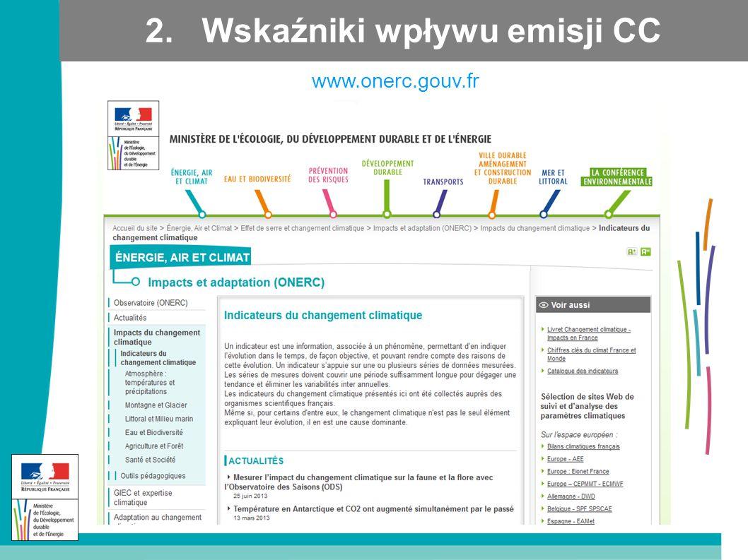 2. Wskaźniki wpływu emisji CC www.onerc.gouv.fr