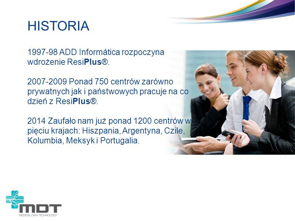 1997-98 ADD Informática rozpoczyna wdrożenie ResiPlus®. 2007-2009 Ponad 750 centrów zarówno prywatnych jak i państwowych pracuje na co dzień z ResiPlu