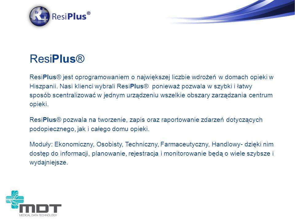 ResiPlus® jest oprogramowaniem o największej liczbie wdrożeń w domach opieki w Hiszpanii. Nasi klienci wybrali ResiPlus® ponieważ pozwala w szybki i ł