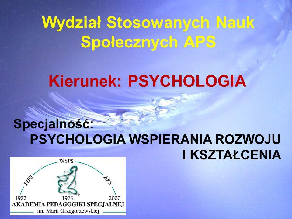 Wydział Stosowanych Nauk Społecznych APS Kierunek: PSYCHOLOGIA Specjalność: PSYCHOLOGIA WSPIERANIA ROZWOJU I KSZTAŁCENIA