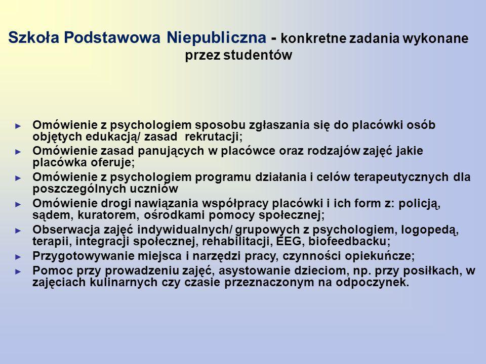 Szkoła Podstawowa Niepubliczna - konkretne zadania wykonane przez studentów ► Omówienie z psychologiem sposobu zgłaszania się do placówki osób objętyc