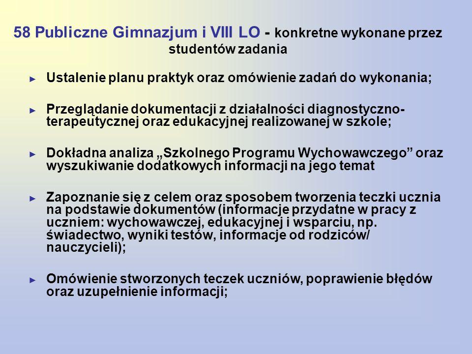 58 Publiczne Gimnazjum i VIII LO - konkretne wykonane przez studentów zadania ► Ustalenie planu praktyk oraz omówienie zadań do wykonania; ► Przegląda