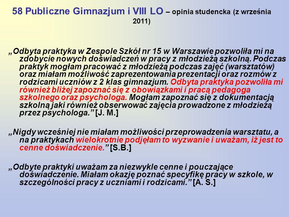 """58 Publiczne Gimnazjum i VIII LO – opinia studencka (z września 2011) """"Odbyta praktyka w Zespole Szkół nr 15 w Warszawie pozwoliła mi na zdobycie nowy"""