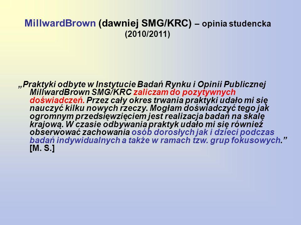 """MillwardBrown (dawniej SMG/KRC) – opinia studencka (2010/2011) """"Praktyki odbyte w Instytucie Badań Rynku i Opinii Publicznej MillwardBrown SMG/KRC zaliczam do pozytywnych doświadczeń."""