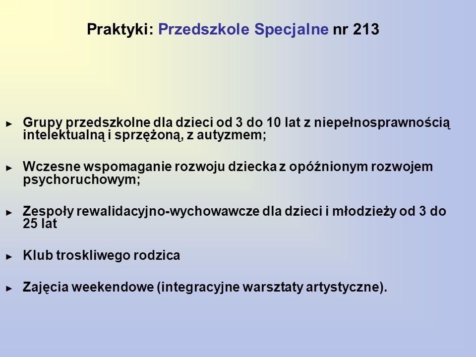 Praktyki: Przedszkole Specjalne nr 213 ► Grupy przedszkolne dla dzieci od 3 do 10 lat z niepełnosprawnością intelektualną i sprzężoną, z autyzmem; ► W