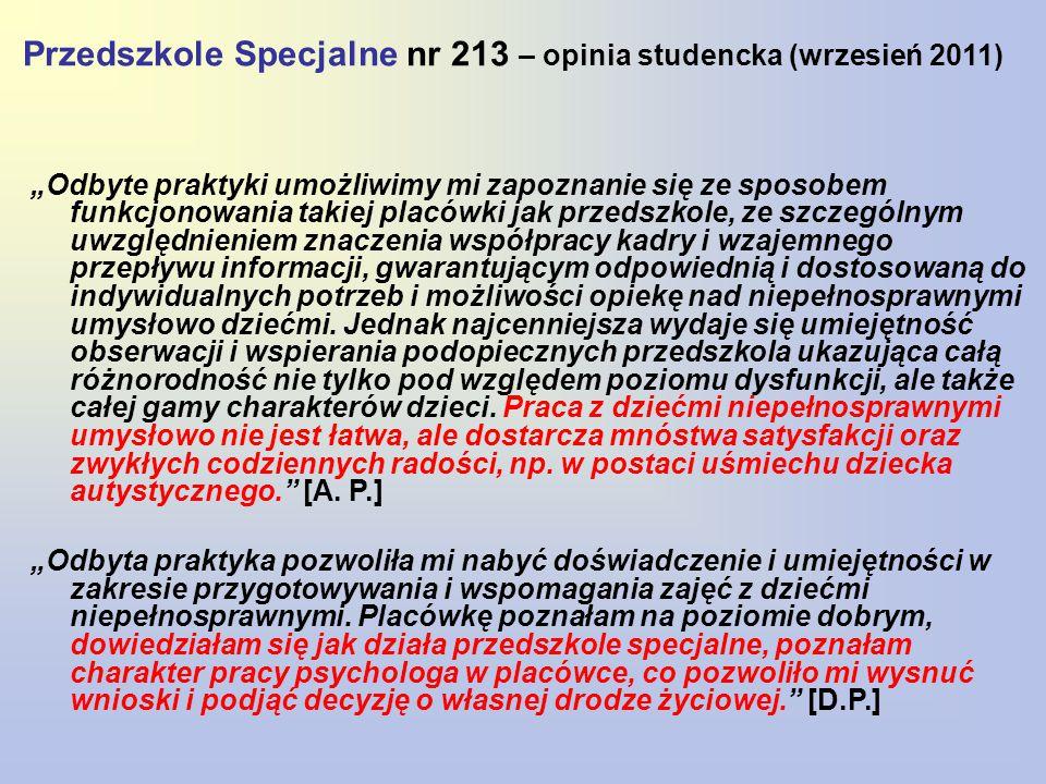 """Przedszkole Specjalne nr 213 – opinia studencka (wrzesień 2011) """"Odbyte praktyki umożliwimy mi zapoznanie się ze sposobem funkcjonowania takiej placówki jak przedszkole, ze szczególnym uwzględnieniem znaczenia współpracy kadry i wzajemnego przepływu informacji, gwarantującym odpowiednią i dostosowaną do indywidualnych potrzeb i możliwości opiekę nad niepełnosprawnymi umysłowo dziećmi."""