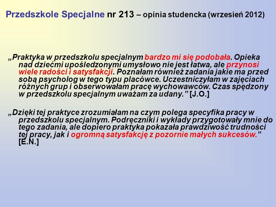 """Przedszkole Specjalne nr 213 – opinia studencka (wrzesień 2012) """"Praktyka w przedszkolu specjalnym bardzo mi się podobała. Opieka nad dziećmi upośledz"""