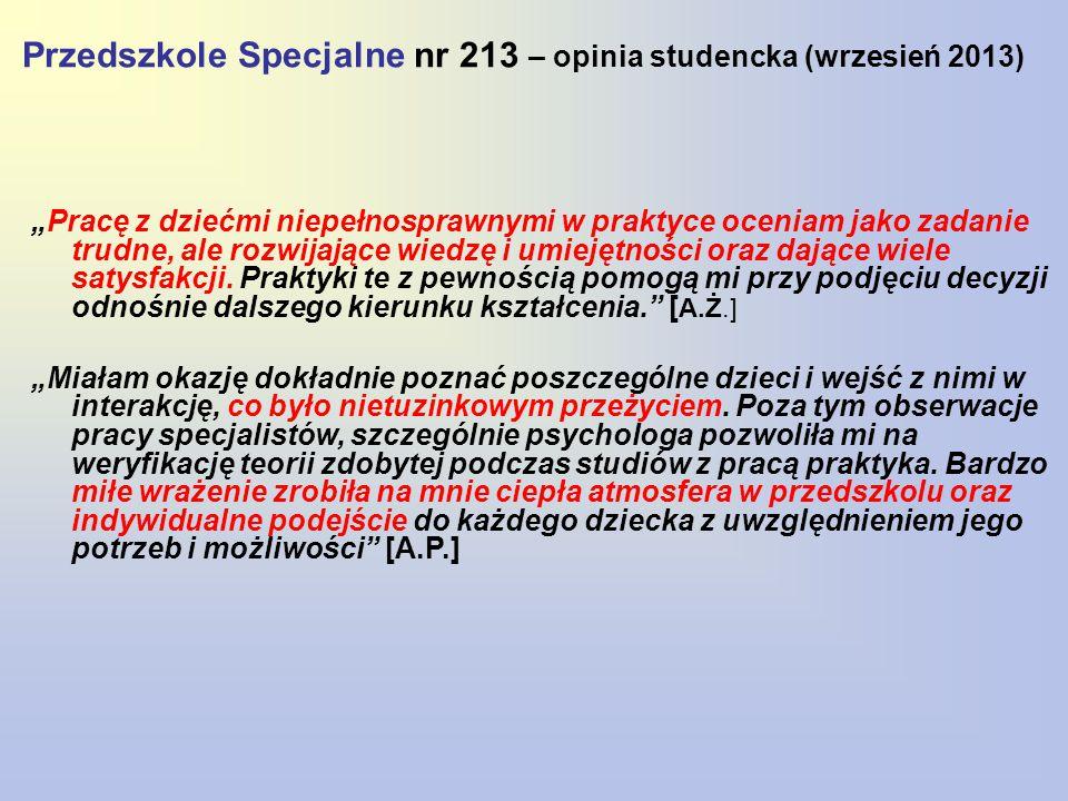 """Przedszkole Specjalne nr 213 – opinia studencka (wrzesień 2013) """"Pracę z dziećmi niepełnosprawnymi w praktyce oceniam jako zadanie trudne, ale rozwijające wiedzę i umiejętności oraz dające wiele satysfakcji."""