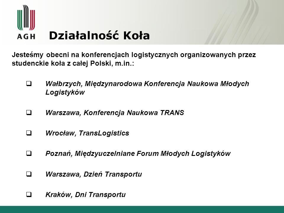 Działalność Koła Jesteśmy obecni na konferencjach logistycznych organizowanych przez studenckie koła z całej Polski, m.in.:  Wałbrzych, Międzynarodow