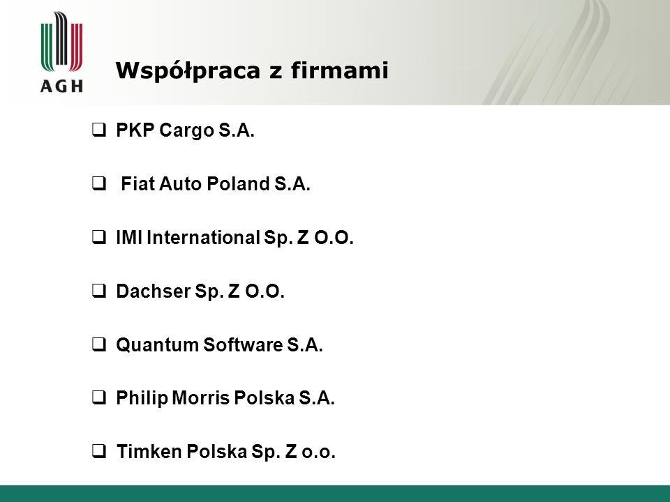 Współpraca z firmami  PKP Cargo S.A.  Fiat Auto Poland S.A.  IMI International Sp. Z O.O.  Dachser Sp. Z O.O.  Quantum Software S.A.  Philip Mor