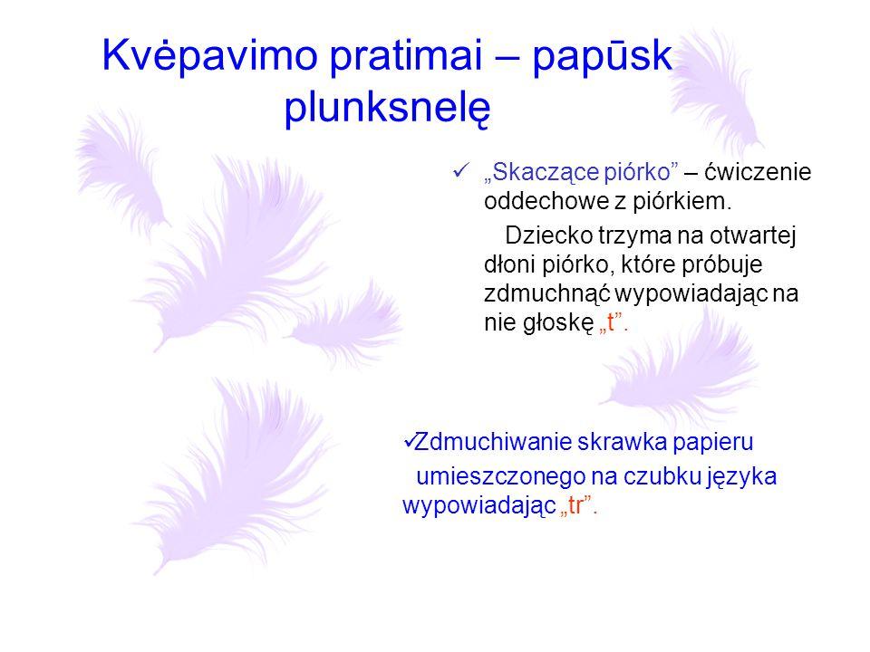 """Kvėpavimo pratimai – papūsk plunksnelę """"Skaczące piórko"""" – ćwiczenie oddechowe z piórkiem. Dziecko trzyma na otwartej dłoni piórko, które próbuje zdmu"""