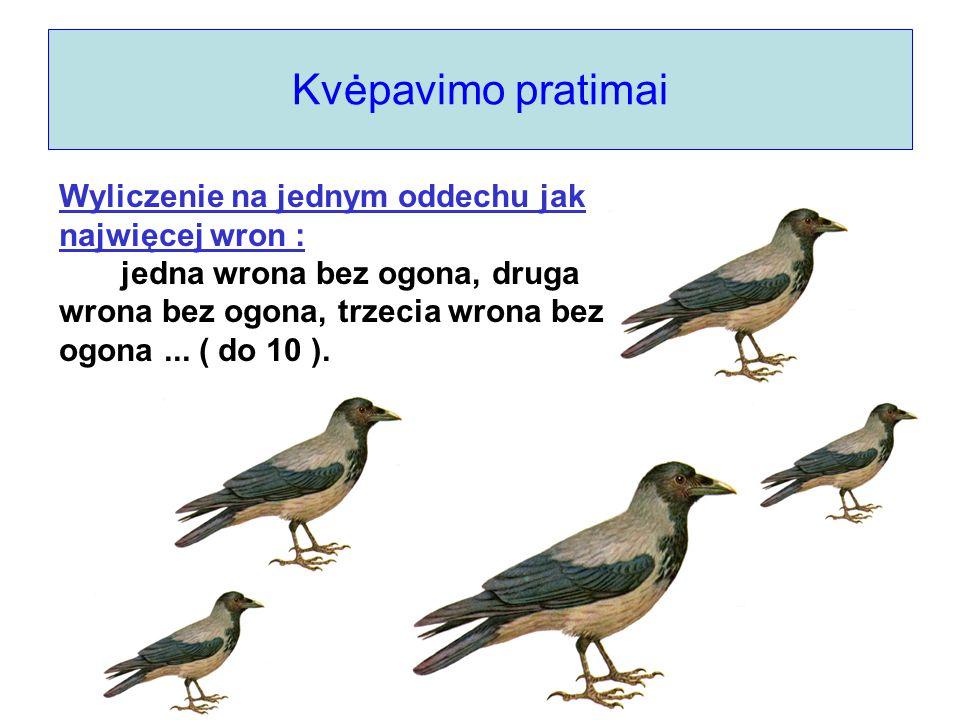 Kvėpavimo pratimai Wyliczenie na jednym oddechu jak najwięcej wron : jedna wrona bez ogona, druga wrona bez ogona, trzecia wrona bez ogona... ( do 10