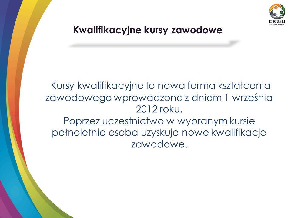 Kursy kwalifikacyjne to nowa forma kształcenia zawodowego wprowadzona z dniem 1 września 2012 roku.