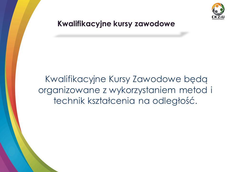 Kwalifikacyjne Kursy Zawodowe będą organizowane z wykorzystaniem metod i technik kształcenia na odległość.