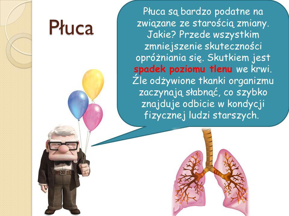 Płuca Płuca są bardzo podatne na związane ze starością zmiany. Jakie? Przede wszystkim zmniejszenie skuteczności opróżniania się. Skutkiem jest spadek