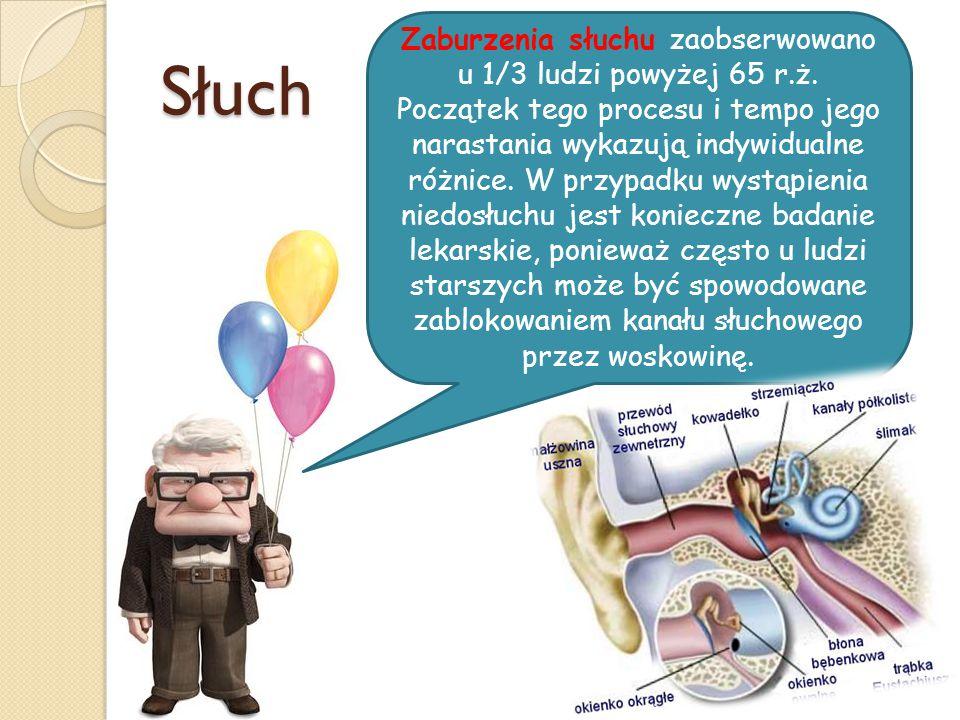 Słuch Zaburzenia słuchu zaobserwowano u 1/3 ludzi powyżej 65 r.ż. Początek tego procesu i tempo jego narastania wykazują indywidualne różnice. W przyp