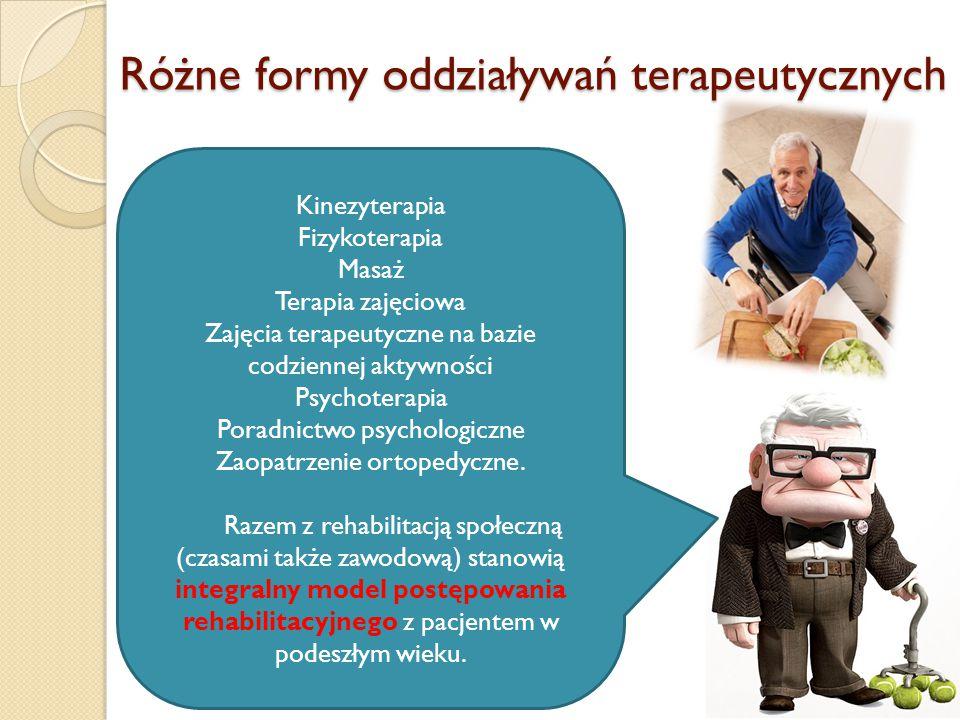 Różne formy oddziaływań terapeutycznych Kinezyterapia Fizykoterapia Masaż Terapia zajęciowa Zajęcia terapeutyczne na bazie codziennej aktywności Psychoterapia Poradnictwo psychologiczne Zaopatrzenie ortopedyczne.