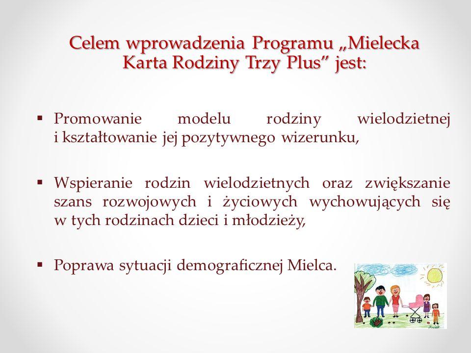 """Celem wprowadzenia Programu """"Mielecka Karta Rodziny Trzy Plus"""" jest:  Promowanie modelu rodziny wielodzietnej i kształtowanie jej pozytywnego wizerun"""