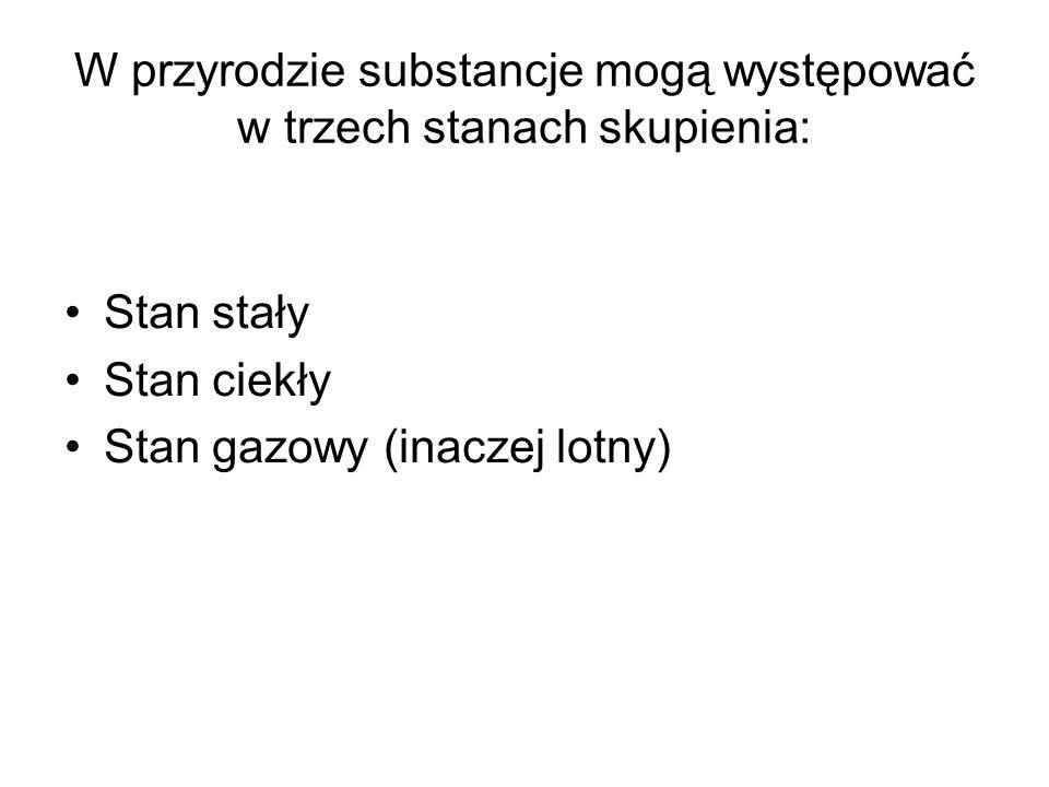 W przyrodzie substancje mogą występować w trzech stanach skupienia: Stan stały Stan ciekły Stan gazowy (inaczej lotny)