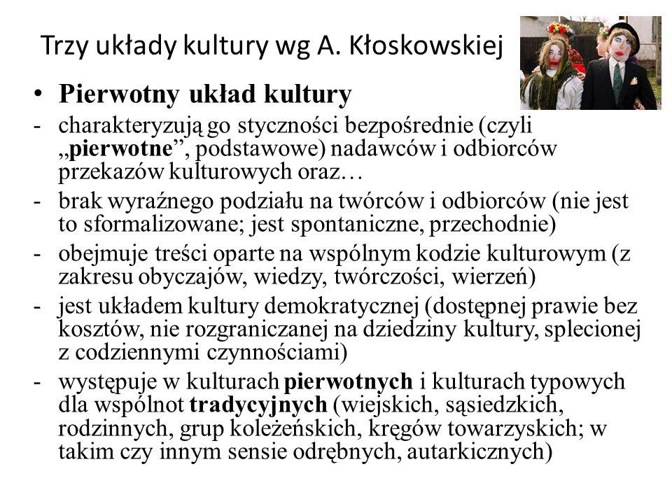 """Trzy układy kultury wg A. Kłoskowskiej Pierwotny układ kultury -charakteryzują go styczności bezpośrednie (czyli """"pierwotne"""", podstawowe) nadawców i o"""