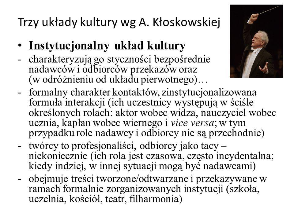 Trzy układy kultury wg A. Kłoskowskiej Instytucjonalny układ kultury -charakteryzują go styczności bezpośrednie nadawców i odbiorców przekazów oraz (w