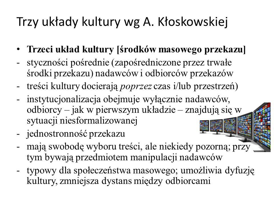 Trzy układy kultury wg A. Kłoskowskiej Trzeci układ kultury [środków masowego przekazu] -styczności pośrednie (zapośredniczone przez trwałe środki prz