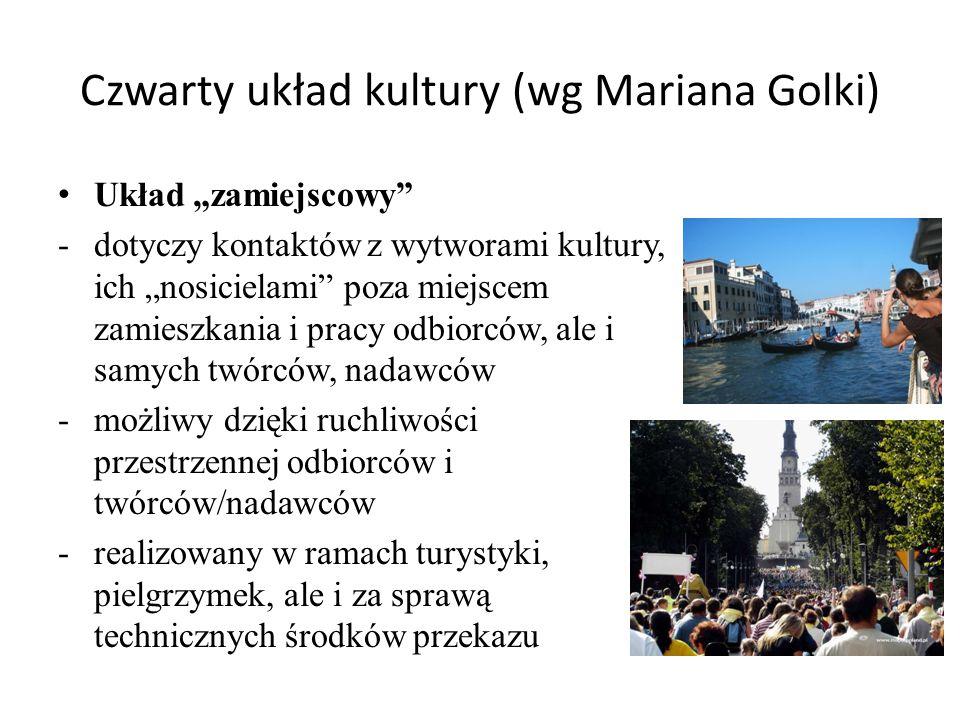 """Czwarty układ kultury (wg Mariana Golki) Układ """"zamiejscowy"""" -dotyczy kontaktów z wytworami kultury, ich """"nosicielami"""" poza miejscem zamieszkania i pr"""