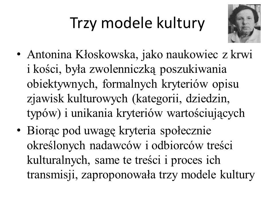 Trzy modele kultury Antonina Kłoskowska, jako naukowiec z krwi i kości, była zwolenniczką poszukiwania obiektywnych, formalnych kryteriów opisu zjawis