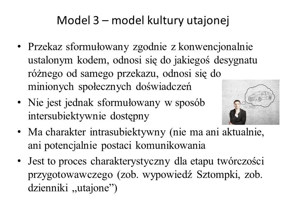 Model 3 – model kultury utajonej Przekaz sformułowany zgodnie z konwencjonalnie ustalonym kodem, odnosi się do jakiegoś desygnatu różnego od samego pr